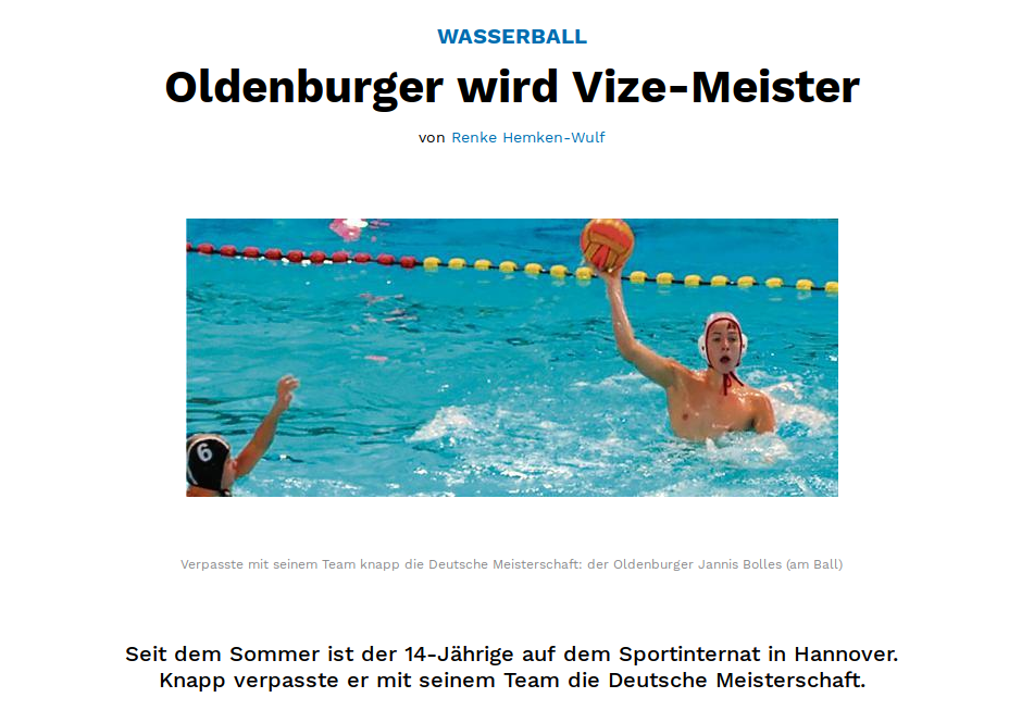 PSVer Jannis Bolles Deutscher U14 -Vizemeister Im Wasserball